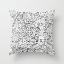 Vintage Map of Brussels (1905) BW Throw Pillow
