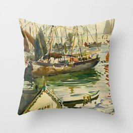 Ships in Harbor coastal nautical landscape painting by Hayley Lever Throw Pillow
