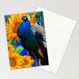 #2 BLUE PEACOCK &  SUNFLOWERS BLUE MODERN ART Stationery Cards