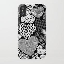 Love Hearts Doodle Art Pattern iPhone Case