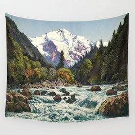 Mountains Forest Rocky River Wall Tapestry