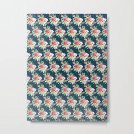 Watercolor Floral Bundles on Blue Metal Print