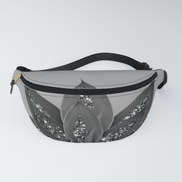 Gray Black Agave with Black Silver Glitter #3 #shiny #tropical #decor #art #society6 Fanny Pack