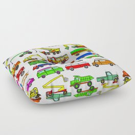 Doodle Trucks Vans and Vehicles Floor Pillow