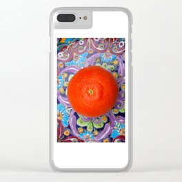 tangerine on a plate Clear iPhone Case