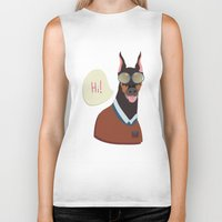 doberman Biker Tanks featuring Doberman by Holanes