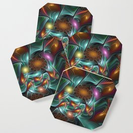 Luminous And Colorful, Abstract Fractal Art Coaster