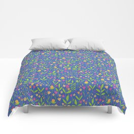 Pop Bold Playful Ditzy All Over Floral Pattern Comforters