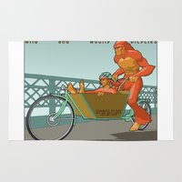 sasquatch Area & Throw Rugs featuring Sasquatch: Wild and Woolly Bicycles by Joseph Boquiren