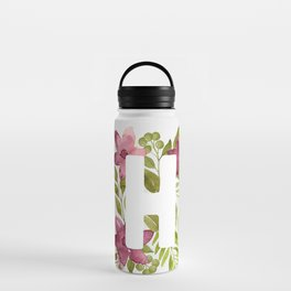 Monogram H with red watercolor flowers and leaves. Floral letter H Water Bottle