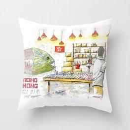 Hong Kong Fish Market Throw Pillow