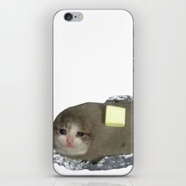 Crying Cat Baked Potato With Butter iPhone Skin