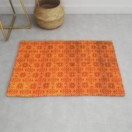 Orange Geometric Traditional Moroccan Pattern Artwork. Rug