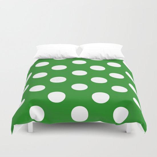 Polka Dots (White/Forest Green) Duvet Cover