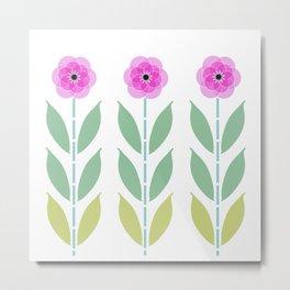 Pink Flower Trio Metal Print