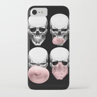 bubblegum iPhone & iPod Cases featuring Skulls chewing bubblegum by Piotr Burdan