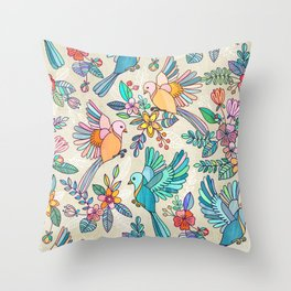 Whimsical Summer Flight Throw Pillow