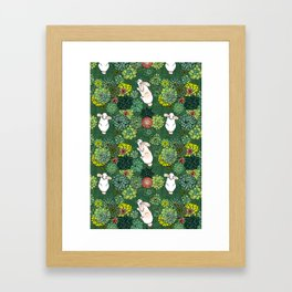 Rabbits in a Succulent Garden Framed Art Print
