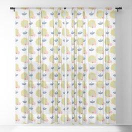 Yellow Sunflower Sheer Curtain