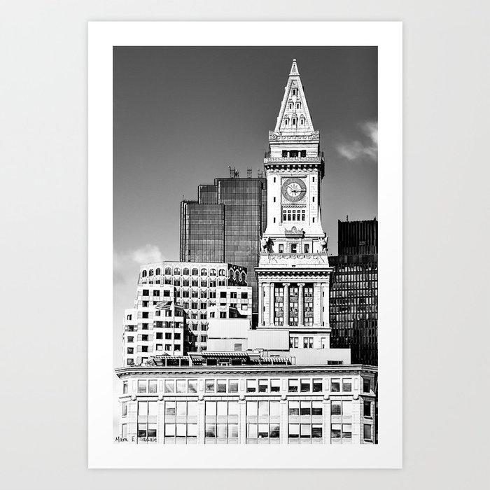 Boston Custom House Tower Black And White Landmark Architecture Art Print