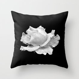 White Rose On Black Throw Pillow