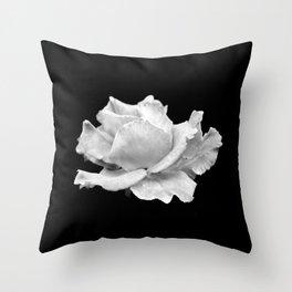 White Rose On Black Throw Pillow