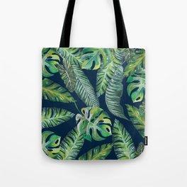 Jungle Leaves, Banana, Monstera, Blue Tote Bag