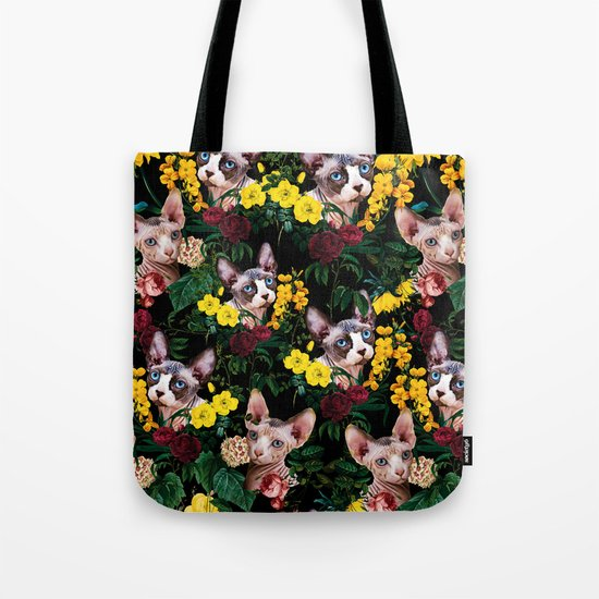 Floral and Sfenks Cat Pattern Tote Bag