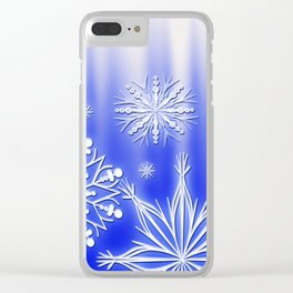 Merry Christmas. Snowflakes texture. Clear iPhone Case