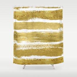 Gold Glitter Brushstrokes Shower Curtain