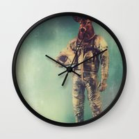 planet Wall Clocks featuring Without Words by rubbishmonkey