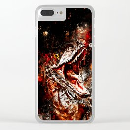 velociraptor dinosaur close up wsee Clear iPhone Case