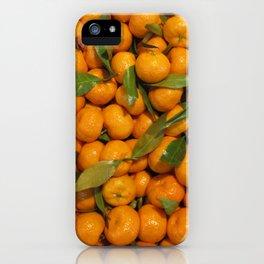 Orange mandarins with green leaves iPhone Case