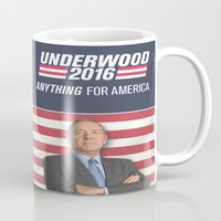 house of cards Mugs featuring House of Cards / Campaign Poster II by Earl of Grey