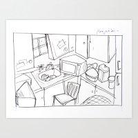 kitchen Art Prints featuring Kitchen by Frances Roughton