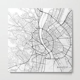 Budapest Map, Hungary - Black and White Metal Print