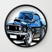 muscle Wall Clocks featuring american muscle  by Vector Art