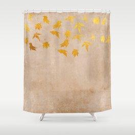 Gold leaves on grunge background - Autumn Sparkle Glitter design Shower Curtain