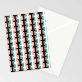 Geometric Pattern 187 (pink olive) Stationery Cards