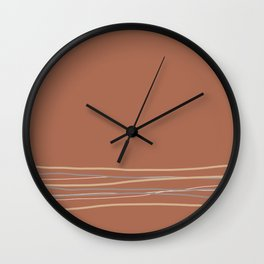 Sherwin Williams Cavern Clay Warm Terracotta SW 7701 with Scribble Lines Bottom in Accent Colors Wall Clock