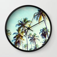 palm Wall Clocks featuring Palm by Sol&Co