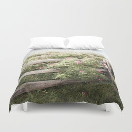 Fence Draped in Rosa Rugosa Duvet Cover