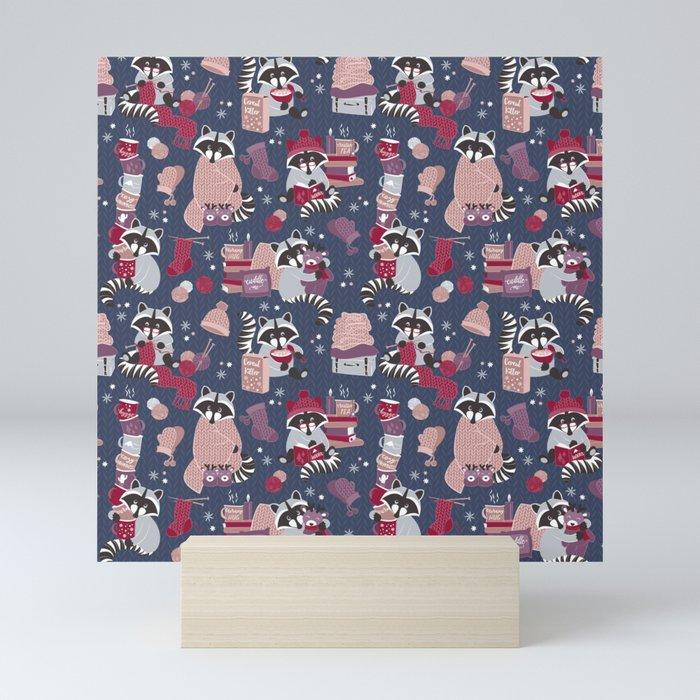 Hygge raccoon Mini Art Print