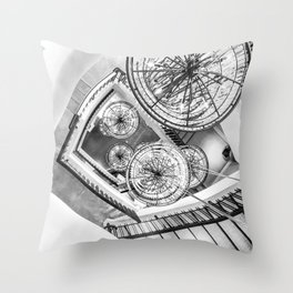 Abstract Perspective // Black and White Lighting Ornamental Chandelier Stairway View Throw Pillow