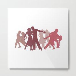 Latin Dancers Illustration Metal Print