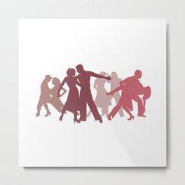 Latin Dancers Illustration Metal Print