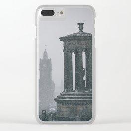 Blizzard over Edinburgh city Clear iPhone Case