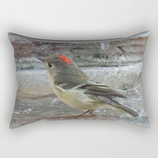Ruby-Crowned Kinglet At The Fountain Rectangular Pillow