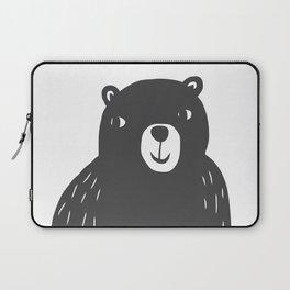 Bear Print – Charcoal and White by Tasha Johnson Laptop Sleeve