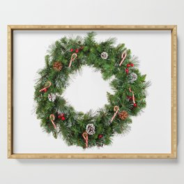 Christmas wreath isolated on white background Serving Tray